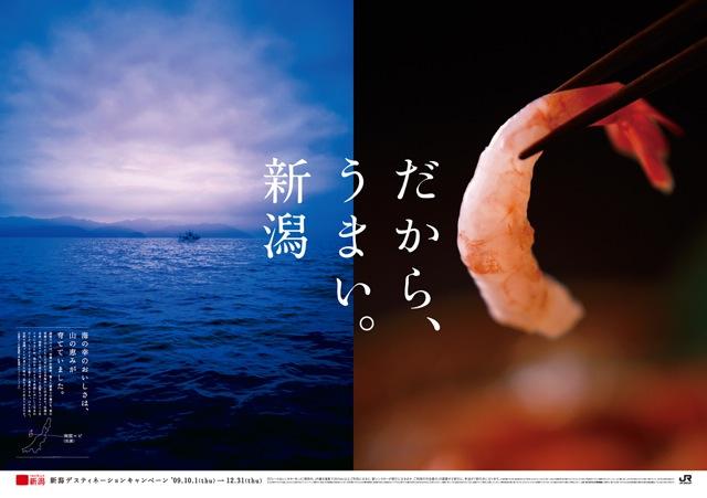 新潟といえば魚。どうしておいしいかを伝える観光ポスター